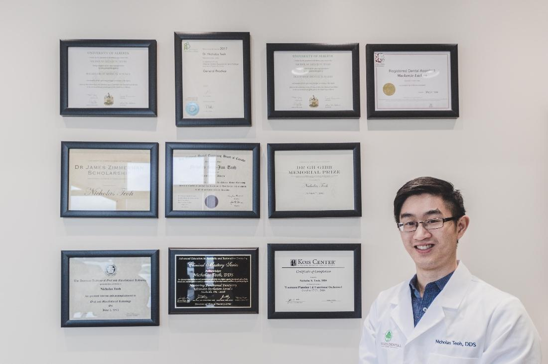 Wall of dental degrees and certificates | Orchards Dental
