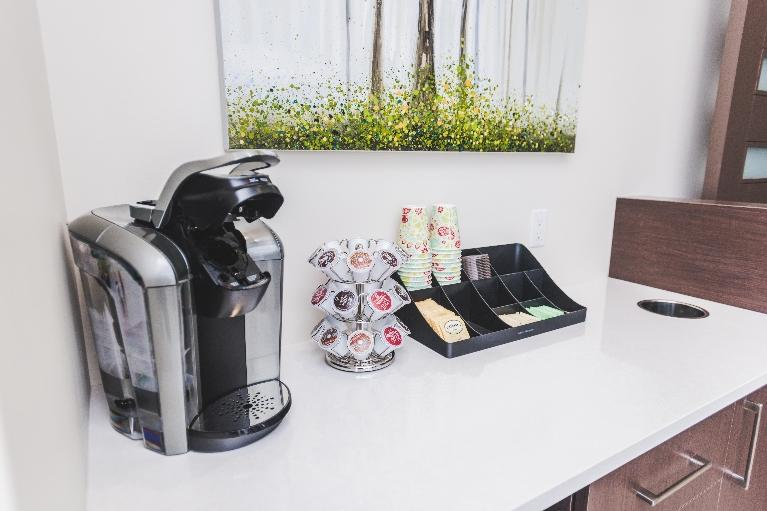 Coffee maker in waiting area | Orchards Dental